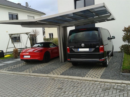 AluPort Monaco Doppelcarport mit nur einer Stütze