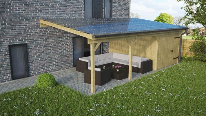 Anbau-Terrassenüberdachung aus Kiefer