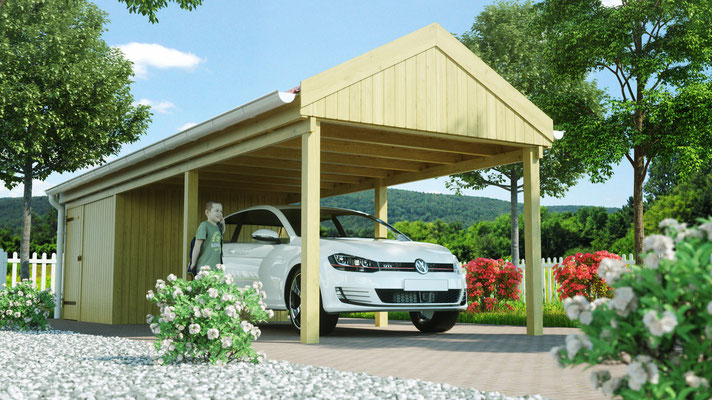 Satteldachcarport aus Holz