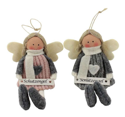 """Schutzengel in grauem und rosa Kleidchen mit """"Schutzengel"""" Schild."""