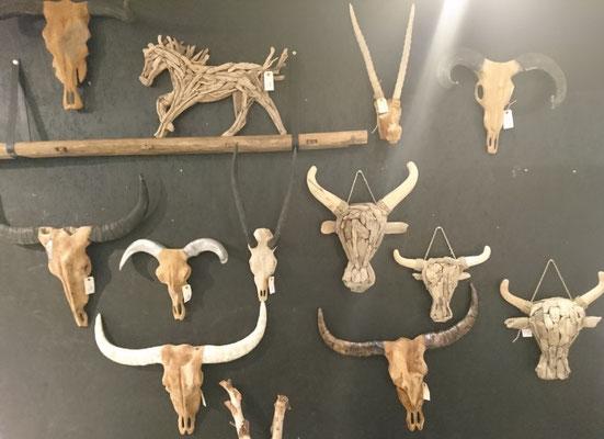 Tierkopf Objekte zum Hinhängen mit echten Hörnern und Schädeln aus Schwemmholz