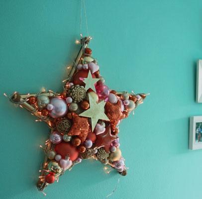 Wir können auch farbenfroh, Leucht Stern im Indiastyle.