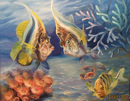 Рибки з рожевими коралами