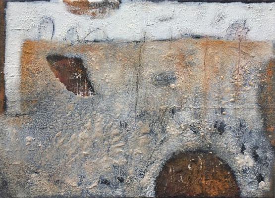 Vergessen im Raum, Eitempera mit Sand auf Leinwand, 70 x 50, 2020