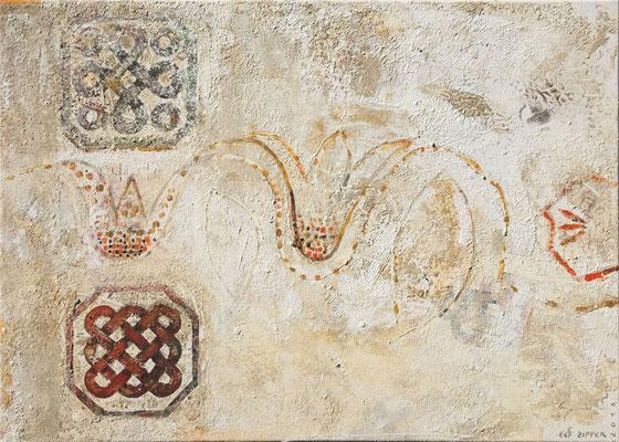 Formen der Byzanz; Eitempera auf Leinwand mit Sand, 2018, 70 x 50 cm