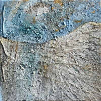 Die Leichtigkeit des Auftauchens, Eitempera mit Sand auf Leinwand, 40 x 40, 2021
