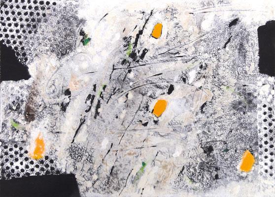 Lustige Sandform II; Eitempera auf Leinwand mit Sand, 2015, 50 x 70 cm