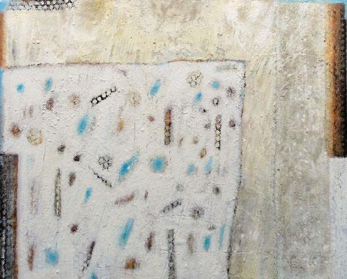 Im Raum gefunden; Eitempera auf Leinwand mit Sand aus Wulka, 2018, 100 x 80 cm