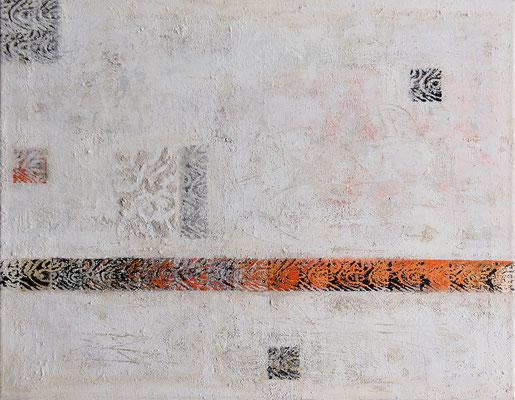 Der lange Weg; Eitempera auf Leinwand mit Sand, 2010, 90 x 70 cm