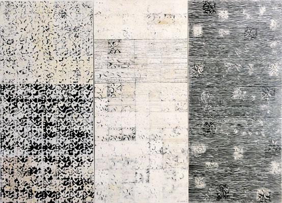 Auch das Schweigen zu Hören; Eitempera auf Leinwand mit Sand, 2011, 210 x 150 cm