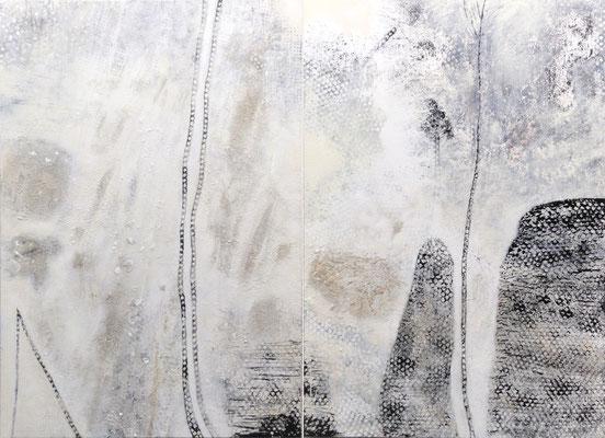 Bewegtes Wasser; Eitempera auf Leinwand mit Sand, 2016, 200 x 140 cm
