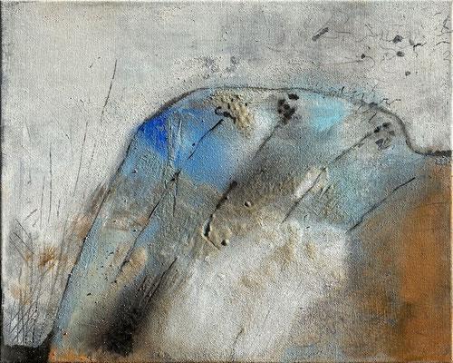 Lang ist es her, Eitempera mit Sand auf Leinwand, 50 x 40, 2021