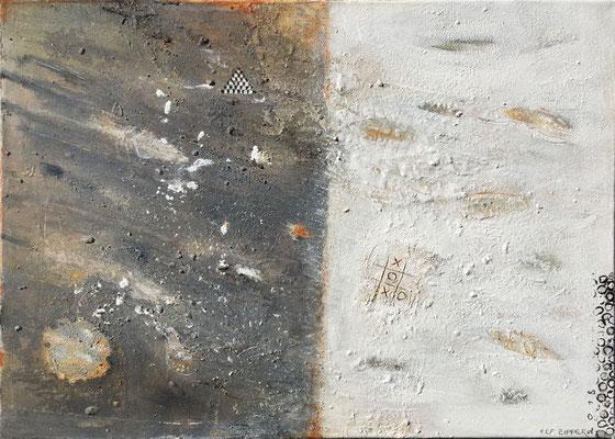 Raum und die Zeit durchwandern; Eitempera auf Leinwand mit Sand, 2018, 70 x 50 cm