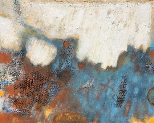 Ebenen des Vergessens; Eitempera auf Leinwand mit Sand, 2018, 100 x 80 cm