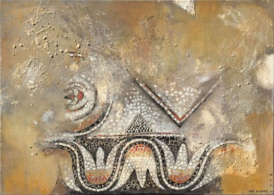 Farben der Byzanz; Eitempera auf Leinwand mit Sand, 2018, 70 x 50 cm