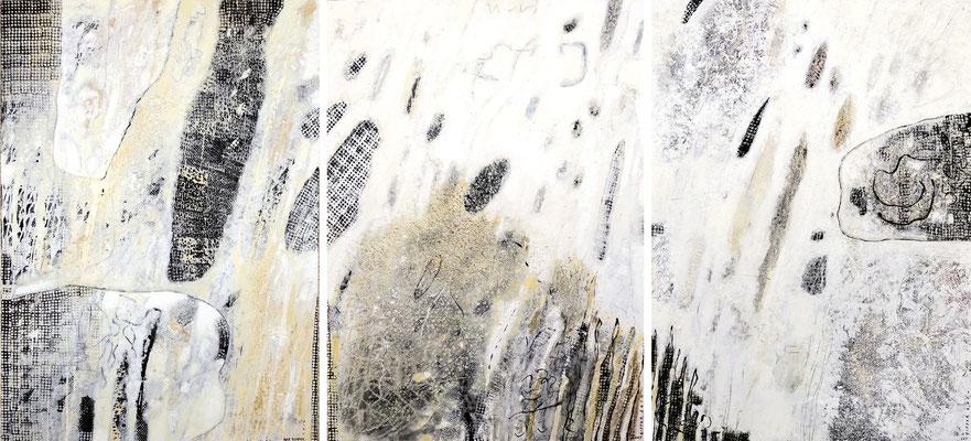 Wirkungskraft des Wassers I, II, III; Eitempera auf Leinwand mit Sand, 2014, 300 x 140 cm