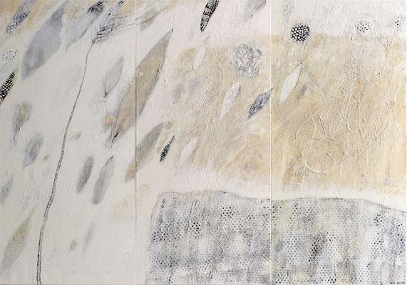 Sandspiegelungen; Eitempera auf Leinwand mit Sand, 2017, 210 x 150 cm