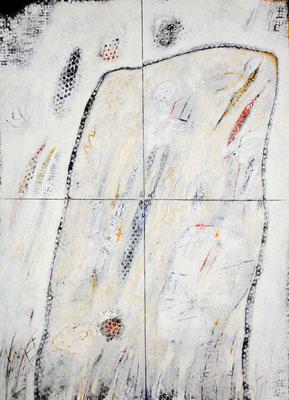 Lustige Sandform; Eitempera auf Leinwand mit Sand, 2014, 100 x 140 cm