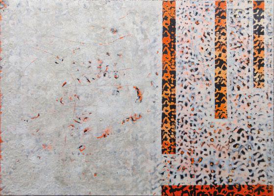 Wieder sichtbar; Eitempera auf Leinwand mit Sand, 2012, 140 x 100 cm