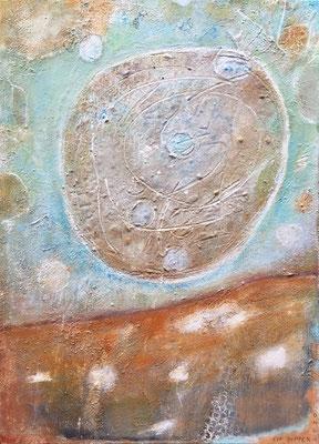 Als der Mond zum Besuch kam, Eitempera mit Sand auf Leinwand, 50 x 70, 2020