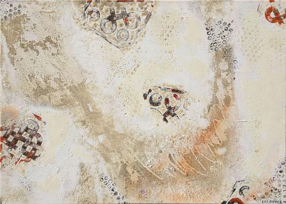 Wiedergefunden; Eitempera auf Leinwand mit Sand, 2018, 70 x 50 cm