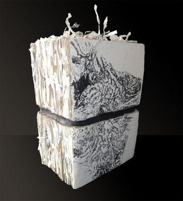 Zensuriert;  Objekt aus Japanpapier, Monotypie, 2012, 22 x 32 cm