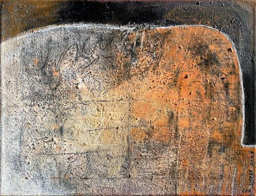 Auf der Schwelle des Sichtbaren, Eitempera mit Sand auf Leinwand, 60 x 46, 2021