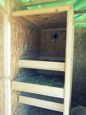 Intérieur d'une armoire, avec claies et sureau au séchage