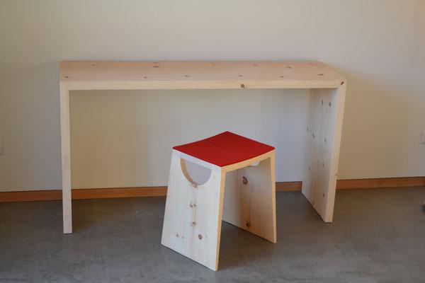 Schreibtisch Arve, Hocker Arve