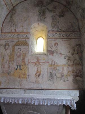 les fresques du chœur : la crucifixion