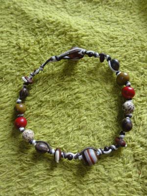 Bracelet de cheville Agate et graines