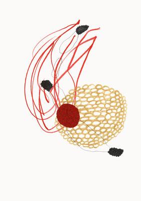 © cesa wendt | unexpected landscapes (6), 2012 | 29,7 x 21 cm | farbstift, bleistift, aquarell, buntpapier / pencil, coloured pencil, water colour, coloured paper | bild-nr. 2012_09_03