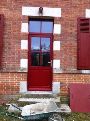 Porte Bois rouge/intérieur bois