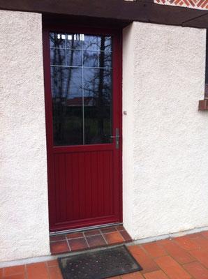 Porte Bois extérieur rouge/intérieur bois