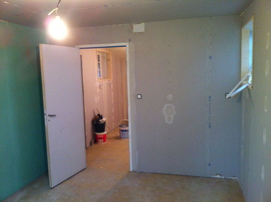 Aménagement d'un garage (isolation, placo, bandes, porte intérieur) 1