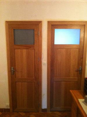 Porte intérieur chêne massif avec vitrage opaque