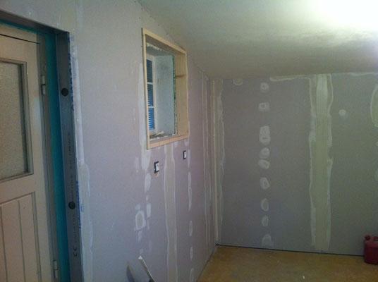 Aménagement d'un garage (isolation, placo, bandes, porte intérieur) 2