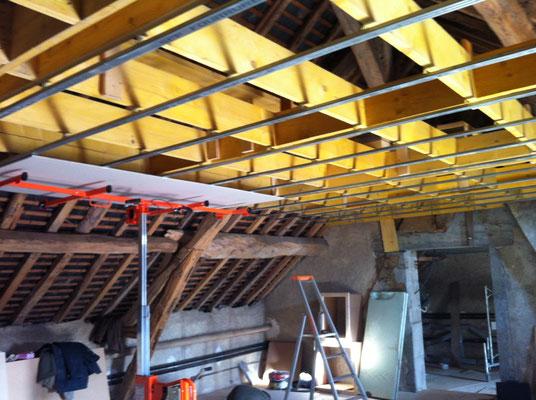 Pose de rails au plafonds (50cm entre les rails)