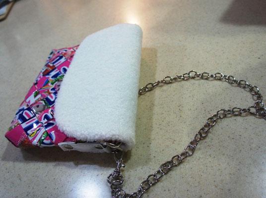 プードルタッチチェーンバッグ ピンク×ホワイト ¥3672