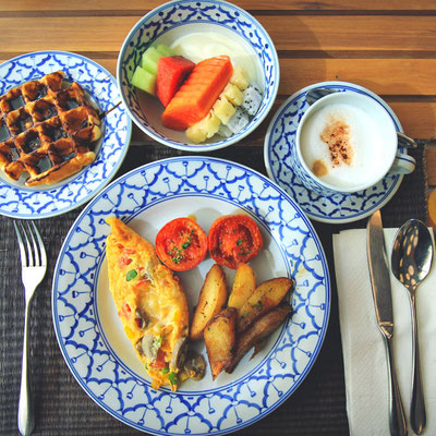 Delicious breakfast at the Nok-Dee Boutique Resort Phuket | Travel Guide To Phuket: Things To Do in Phuket And Places To Stay | via @Just1WayTicket | Photo © Sabrina Iovino