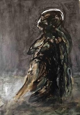 Mère, Encre et Cirage, 30x42 cm