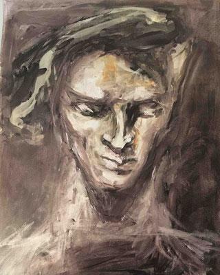 Pensée, Encre et Cirage, 30x42 cm