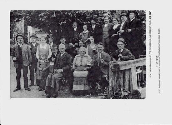 Wirtsleute und Gäste vom Gasthaus Radner-Wirt Fischböckau um 1928