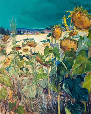 Sonnenblumen bei Kleinhöflein, 100x80cm, Öl auf Leinwand