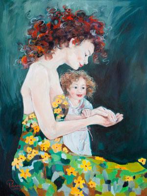 Mutter mit Kind, 80x60cm, Öl auf Leinwand