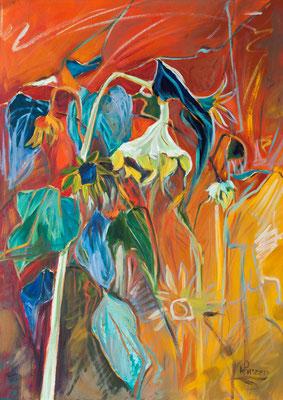 Verzweigte Sonnenblumen im Herbst, 70x50cm, Öl auf Leinwand