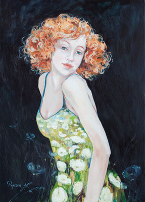 Lady Schafgarbe, 70x50cm, Öl auf Leinwand