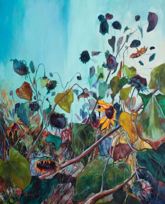 Verzweigte Sonnenblumen 100x80cm, Öl auf Leinwand