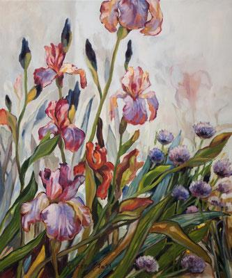 Iris und Allium, 70x60cm, Öl auf Leinwand