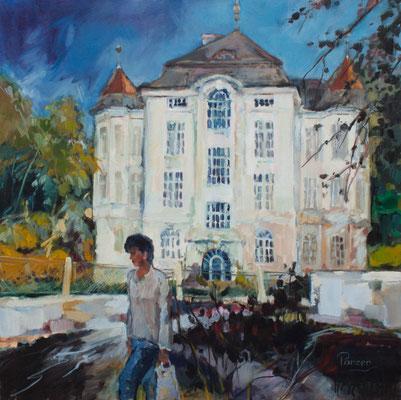 Seminarvilla in Hollabrunn, 60x60cm, Öl auf Leinwand